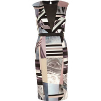 River Island Womens Beige graphic print deep plunge V-neck dress