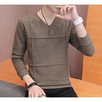 Mens Slim Fit V Neck Sweater