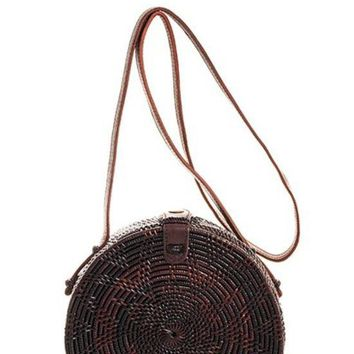 Smooth Straw Woven Bag with Non Detachable Long Strap