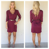 Burgandy 3/4 Sleeve Kim Dress with Belt