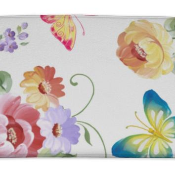 Bath Mat, Pattern Roses And Butterflies Watercolor Painting Illustration