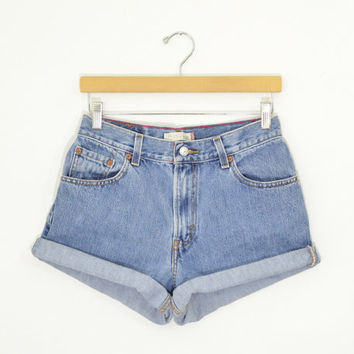 b9271e1037 Vintage 90s LEVIS 550 High Waisted Shorts Medium Wash Denim Cuff