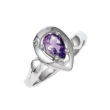 925 Sterling Silver Amethyst and White Diamond Pear Cut Solitaire Ring: Diamond & Amethyst Ring in Sterling Silver - Pear Shape - Interesting