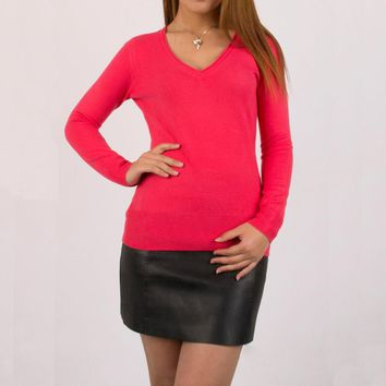 Spring Autumn Super Soft V-Neck Pink Women Pullover Knitted Sweater Imitated cashmere Jumper Long Sleeve Slim