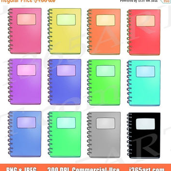 50% off sale Spiral Notebooks Clipart, Notebook Clip art, Planner supplies, Rainbow Clipart, Hand drawn, Scrapbooking, Graphics, Commercial