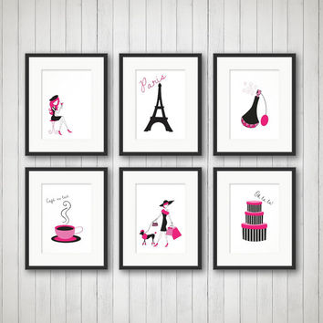 Paris Decor, Teen Room Decor, Fashion Print, Fashion Art, Girls Room, Girls Fashion, Girls Room Decor, Bedroom Art, French Art, 6 Prints