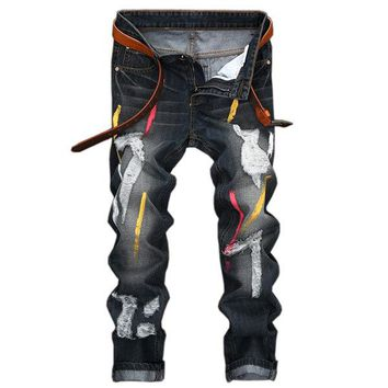 Stylish Casual Cotton Paint Washed Holes Frayed Straight Jeans for Men