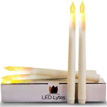 Set of 4 Flameless Candles with Timer, Ivory Wax and Amber Yellow Flame