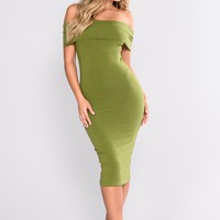 Mariam Off Shoulder Dress - Olive