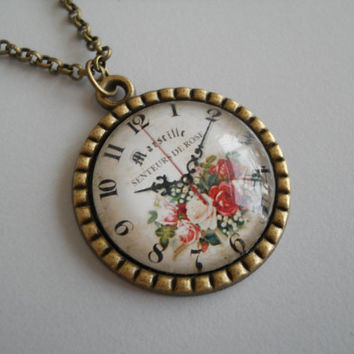 Old clock pendant, glass dome jewelry, antique brass necklace