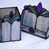 Victorian Office Desk Set, Card Holder & Pen/Pencil Holder, Handmade Stained Glass,  Great February Birthday Gift !