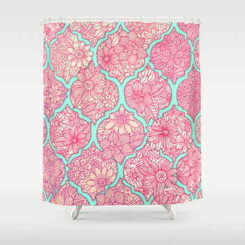Moroccan Floral Lattice Arrangement in Pinks Shower Curtain by Micklyn