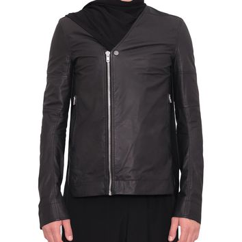 Rick Owens Sliced leather and viscose biker jacket