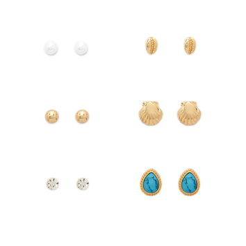 Mixed Seashell Stud Set | Forever 21 - 1000152288