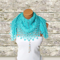 silvery turquoise women shawl Fashionable shawl by WomanStyleStore