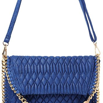 Embellished Quilted Shoulder Bag in Blue