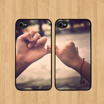 Best friend Friends Promise cases set of 2 Cases Plastic Snap for iPhone 4 4S 5 5C 5S Galaxy S3 / S4