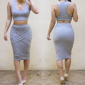 Summer Women Two Pieces Set Dress Bodycon Dress Vestidos Sexy Bandage Crop Top Dress Set  conjunto feminino HO659226
