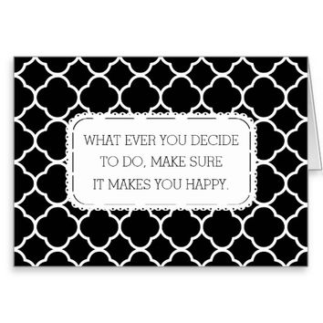 Black and White Quatrefoil Graduation Greeting Card