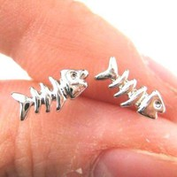 Small Fishbone Fish Skeleton Shaped Stud Earrings in Silver