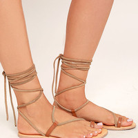 Amuse Society x Matisse Getaway Tan Leather Lace-Up Sandals