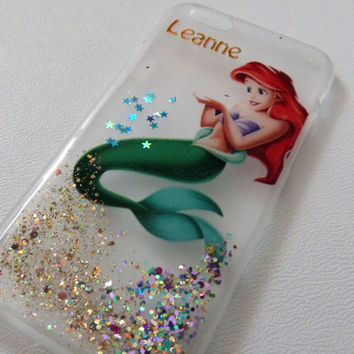 PERSONALISED name Ariel The Little Mermaid Glitter Iphone 5 case 5s 4 4s 5c 6 6plus Phone Case cover, Glittery Sparkly bling Disney glitter