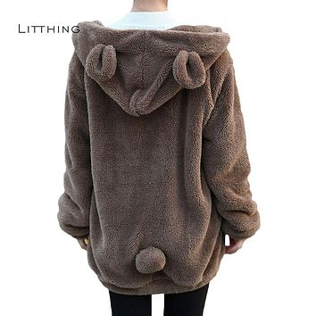 LITTHING 2018 Women Hoodies Zipper Girl Winter Loose Fluffy Bear Ear Hoodie Hooded Jacket Warm Outerwear Coat Cute Sweatshirts