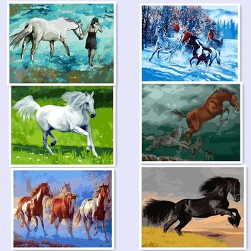 Animal picture DIY Painting By Numbers Paint On Canvas Home Wall Art Picture Drawing Painting By Numbers Kits horse bm05