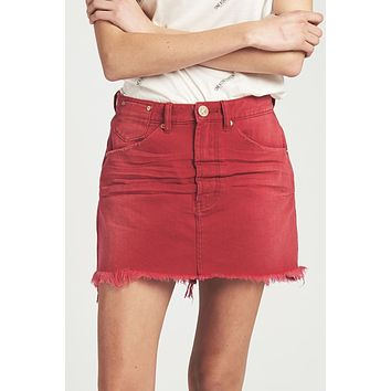 One Teaspoon Vanguard Mid Rise Skirt in Red Envy