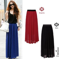 4 Color Pleated Chiffon Long Maxi Skirt Casual Elastic Waist Band Dance Dress
