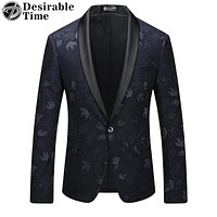 Men Velvet Printed Blazers Stage Wear Fashion Prom Party Blazers