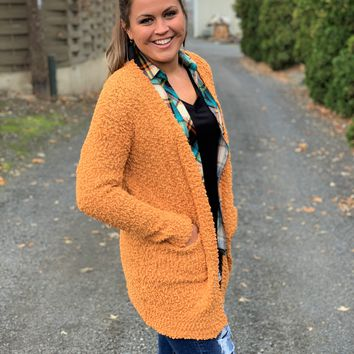 Dark Mustard Popcorn Pocket Cardigan