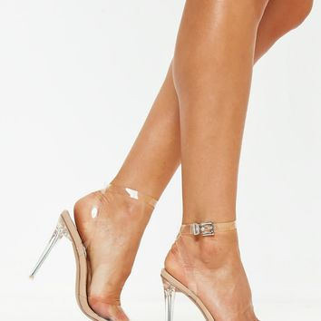 Missguided - Nude Clear Ankle Strap Pumps