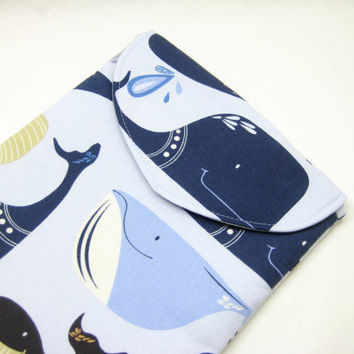 Whale iPad Case, Blue Whale iPad Cover, Whale iPad Sleeve, Padded with Flap in Ocean Life Print