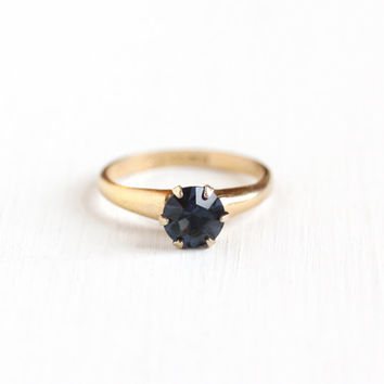 Vintage 10k Yellow Gold Filled Simulated Sapphire Ring - 1940s Size 5 3/4 Dark Blue Foiled Rhinestone Solitaire September Birthstone Jewelry