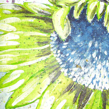 "Green and blue Sunflower, bright floral art, unframed canvas, 10"" x 8"""