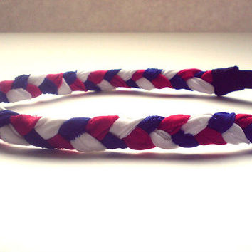 2 for 20 Red White and Blue Braided Headband Fourth of July American Hippie Headband Hair Accessories Elastic Headband