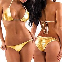 Two Piece Gold Metallic Triangle Top & Side Tie Scrunch Bottom Set (Many Colors Available)
