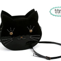 Mr cat bag in black patent synthetic leather