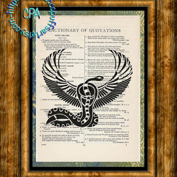 Black Egyptian Snake & Falcon Art - Beautifully Upcycled Vintage Dictionary Page Book Art Print
