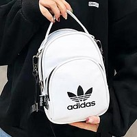 Adidas Fashion New Letter Print Leather Backpack Bag Women White