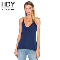 HDY Haoduoyi Fashion Sexy Basic Women Tanks Solid Deep V Neck Sleeveless Vests Blue Ruffles Regular Female Casual Tops