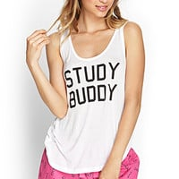 FOREVER 21 Study Buddy PJ Set White/Black
