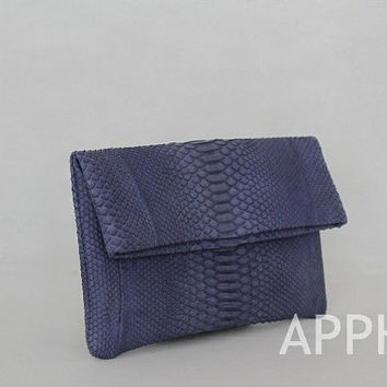 Elbulli Genuine Exotic Python Clutch in Rustic Blue Color