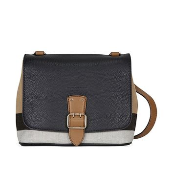 Burberry Women's Canvas Check and Leather Crossbody Bag Black