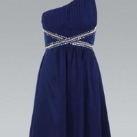 Chiffon Navy Blue One Shoulder Dress with Sequin Detail