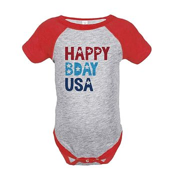 Custom Party Shop Kids Happy Bday USA 4th of July Red Onepiece