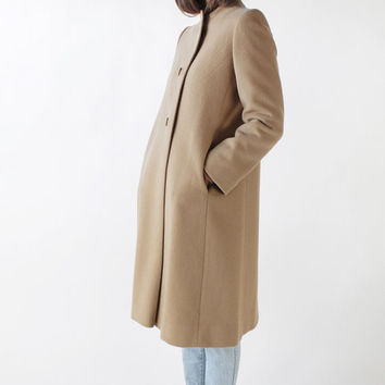Vintage 80s Camel Wool Structured Minimal Coat with Chevron Stitching | M