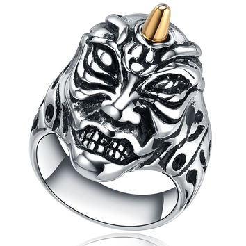Stainless Steel Devil W. Gold Color Horn Ring