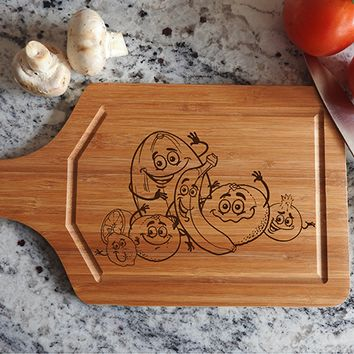 ikb584 Personalized Cutting Board funny cartoon fruits vegetables vegetarian kitchen gift